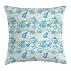 Deniz Canlıları Desenli Yastık Kırlent Kılıfı
