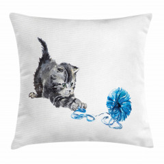 Yumakla Oynayan Kedi Yastık Kırlent Kılıfı