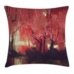 Kırmızı Ormanda Gece Yastık Kırlent Kılıfı