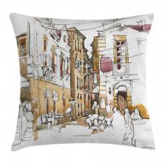 Nostaljik Sokak Desenli Yastık Kırlent Kılıfı