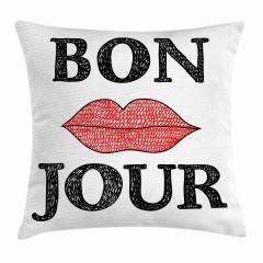 Bon Jour ve Dudaklar Yastık Kırlent Kılıfı