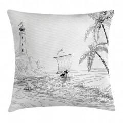 Tekne ve Deniz Feneri Yastık Kırlent Kılıfı