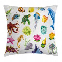 Deniz Hayvanları Yastık Kırlent Kılıfı