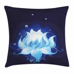 Suda Mavi Lotus Çiçeği Yastık Kırlent Kılıfı