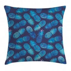 Mavi Ananas Desenli Yastık Kırlent Kılıfı