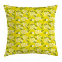 Yapraklı Limon Dilimi Yastık Kırlent Kılıfı