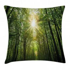 Güneşli Orman Gökyüzü Yastık Kırlent Kılıfı