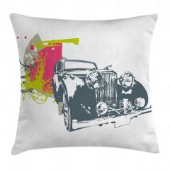 Antika Araba Desenli Yastık Kırlent Kılıfı