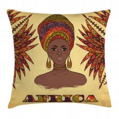 Güzel Afrikalı Kadın Yastık Kırlent Kılıfı