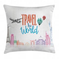 Dünya Turu Desenli Yastık Kırlent Kılıfı