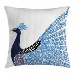Mavi Tavus Kuşu Desenli Yastık Kırlent Kılıfı
