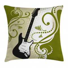 Dekoratif Gitar Desenli Yastık Kırlent Kılıfı