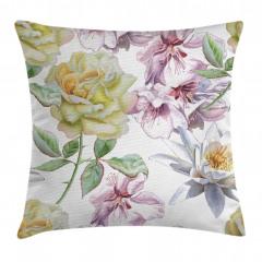 Sulu Boya Çiçekli Desen Yastık Kırlent Kılıfı