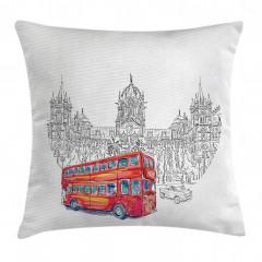 Kırmızı Otobüs Seyahati Yastık Kırlent Kılıfı