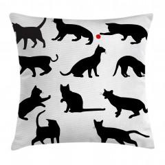 Kedi Silüetleri Desenli Yastık Kırlent Kılıfı