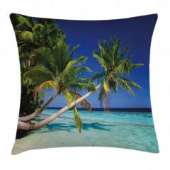 Cennet Plajı ve Palmiye Yastık Kırlent Kılıfı