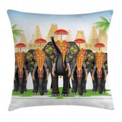 Şemsiyeli Fil Desenli Yastık Kırlent Kılıfı