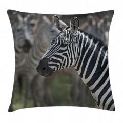 Zebra Portresi Desenli Yastık Kırlent Kılıfı
