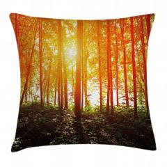 Turuncu Işıkta Ağaçlar Yastık Kırlent Kılıfı