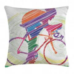 Renkli Bisikletçi Çimen Yastık Kırlent Kılıfı