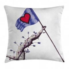 Sevginin Bayrağı Düşmez Yastık Kırlent Kılıfı
