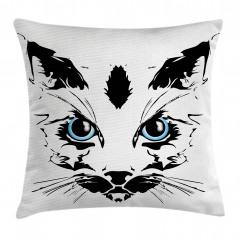 Mavi Gözlü Kedi Yastık Kırlent Kılıfı