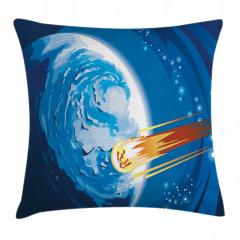 Meteor ve Mavi Dünya Yastık Kırlent Kılıfı