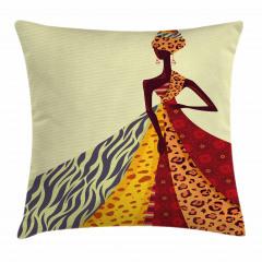 Etekli Afrikalı Kadın Yastık Kırlent Kılıfı