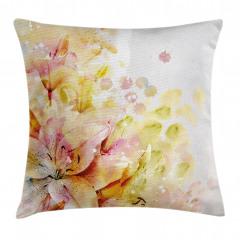 Stilize Lilyum Çiçeği Yastık Kırlent Kılıfı
