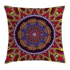 İç İçe Renkli Mandala Yastık Kırlent Kılıfı