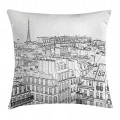 Paris Binaları Desenli Yastık Kırlent Kılıfı
