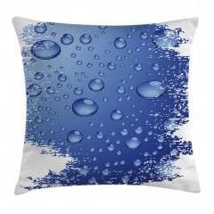 Mavi Yağmur Damlaları Yastık Kırlent Kılıfı