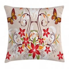 Kelebekli Çiçekli Desen Yastık Kırlent Kılıfı
