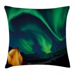Yeşil Kuzey Işıkları Yastık Kırlent Kılıfı