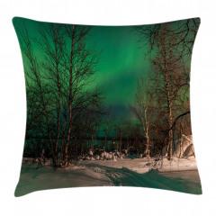 Orman ve Kuzey Işıkları Yastık Kırlent Kılıfı