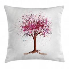 Pembe Ağaç Desenli Yastık Kırlent Kılıfı