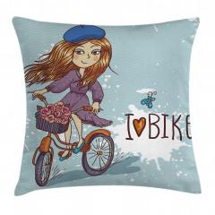 Bisiklete Binen Kız Yastık Kırlent Kılıfı