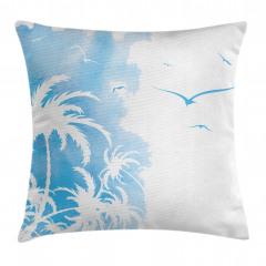 Mavi Palmiye ve Kuşlar Yastık Kırlent Kılıfı