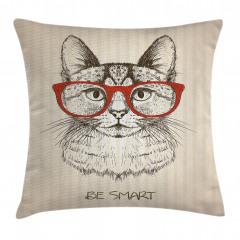 Kırmızı Gözlüklü Kedi Yastık Kırlent Kılıfı