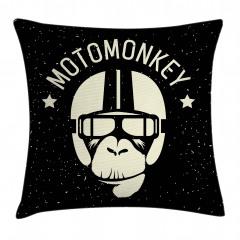 Motorcu Maymun Desenli Yastık Kırlent Kılıfı