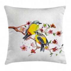 Sarı Karınlı Kuşlar Yastık Kırlent Kılıfı