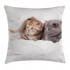 Gri Şirin Yavru Kediler Yastık Kırlent Kılıfı