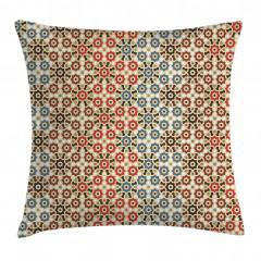 Geometrik Çiçek Desenli Yastık Kırlent Kılıfı