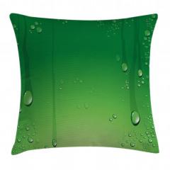 Yeşil Zemin ve Damlalar Yastık Kırlent Kılıfı