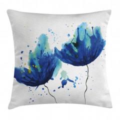 Sulu Boya Mavi Çiçekler Yastık Kırlent Kılıfı