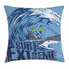 Köpek Balığında Sörf Yastık Kırlent Kılıfı