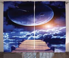 Uzaydaki İskele Temalı Fon Perde Ay Bulut Gökyüzü