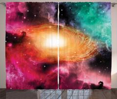 Rengarenk Uzay Temalı Fon Perde Galaksi ve Gökyüzü