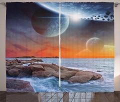 Dünya ve Deniz Temalı Fon Perde Gökyüzü Evren