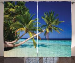 Egzotik Cennet Temalı Fon Perde Mavi Deniz Gökyüzü